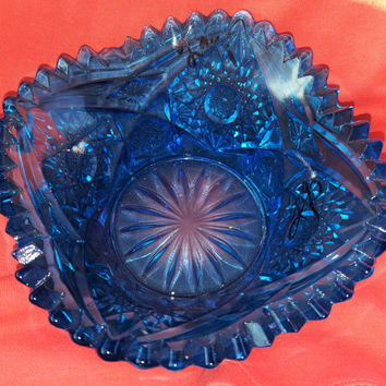 Vintage Royal Blue Pressed Glass Swirling Stars Candy Dish Bowl With Sawtooth Edge Cut Glass