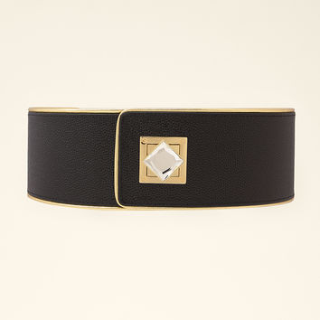 bebe Womens Jeweled Stretch Belt Black Gold Small