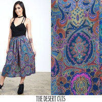 vintage 80s skirt vintage ethnic printed skirt with elastic waistband by norton mc naughton petites vintage boho hipster skirt