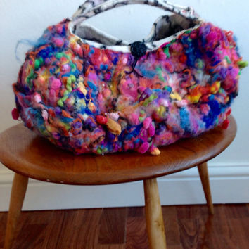 Large Hand felted tote bag -  Orange pink green purple felted wool purse tote handbag...made to ordermOOAK fibre Art to Wear