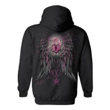 Women's/Unisex Zip-Up Hoodie Beautiful Angel Wings With Heart Lock and Rose
