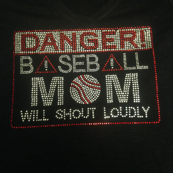 Baseball Mom Will Shout Loudly Rhinestone Tank Top
