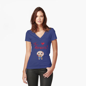 'brains' Women's Fitted V-Neck T-Shirt by HargaPas