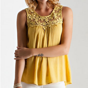 Lace Me Up Top - Yellow