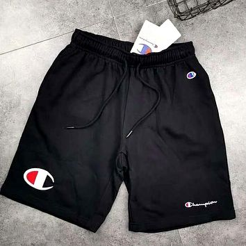 Champion tide brand men's and women's cotton casual shorts Black
