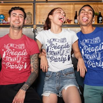 Men's Funny 4th July T Shirt We The People Want To Party Shirt Drinking T-Shirt Graphic Tee Beer Shirts