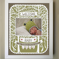 Welcome Baby - Papercut Baby Frame - 8x10 Printed Photo Mat - Available in green, pink, or blue