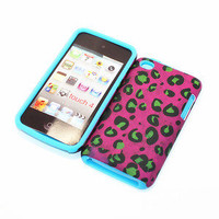For Apple ipod Touch 4th 2 in 1 Hybrid Cover Case Animal Print Sky Blue Silicone