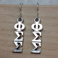 Phi Sigma Sigma Lavaliere Earrings, with Sterling Silver Earwires