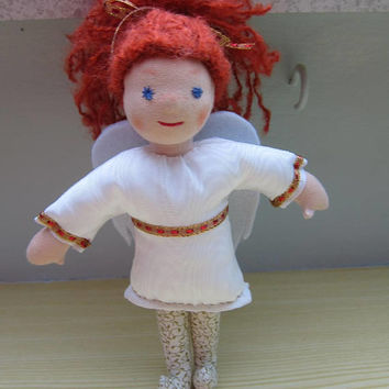 Guardian Angel , Angel doll Cecile with auburn mohair wool hair, white Moiré dress, felt wings, Waldorf inspired, collector art doll,