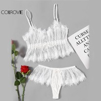 COLROVIE Eyelash Lace Sheer Lingerie Set White Underwear Women Sexy Bra Set 2017 Summer Vintage Thin Bow Hot Lingerie Set