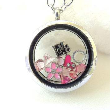 Glass Locket with Floating Charms, Love Heart Living Locket, Pink Crystal Charm Locket, Teen Gift, Gift for Girls. B180