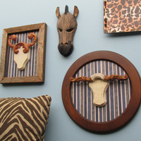 3 piece wall gallery - Safari Collection - global chic - hand crafted