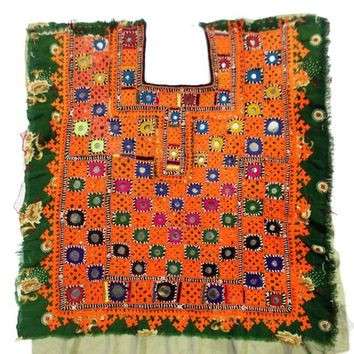 Indian Traditional Banjara Fabric Hand embroidered Mirror work/ Old Fabric to Decorate Your Clothing and Interior/ Handmade and Vintage