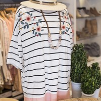 Embroidered Striped Top, Peach