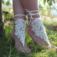 Free Ship bridal bangle,cream lace anklet embrodeired flowers, beach wedding barefoot sandals, wedding bangles, anklets, bridal, wedding