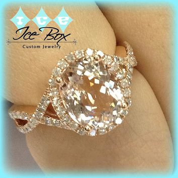 Morganite Engagement Ring 3.8ct Oval 14k  Rose Gold Diamond Halo Twist Shank