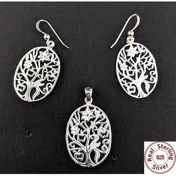 Sterling Silver Pendant and Earring set - Filigree Tree - Oval