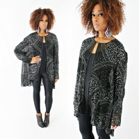 vintage 80s 90s sheer SILK beaded TROPHY sequin KIMONO tribal draped oversized coat/jacket