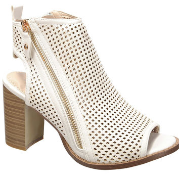 Nature Breeze- Women's Laser Cut Medium Block Chunky Heel Trendy Shoes 4 Her White Pu 7 B(M) US '