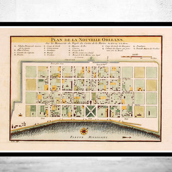 Old Map of New Orleans 1764