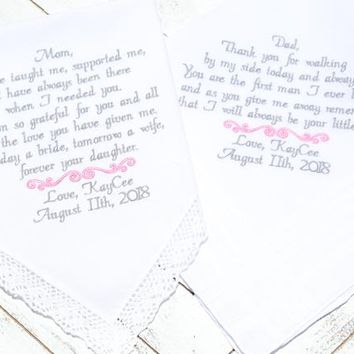 Embroidered Wedding handkerchiefs, wedding favors, wedding decor, wedding gifts, Wedding gift for Mom, Dad Wedding Gift, Canyon Embroidery