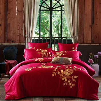 Red with Gold Embroidered Bedding Set (Egyptian Cotton)