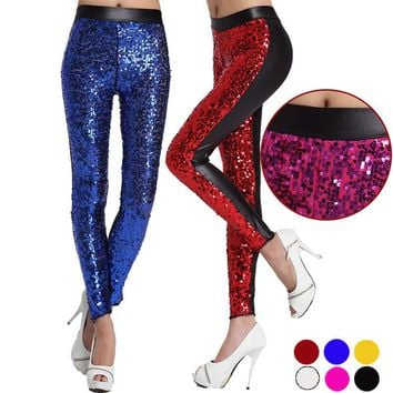 2017 Women Spring New High Elastic Imitation Leather Stitching Leather Leggings Fashion High Shiny Large Sequins Leggings WL024
