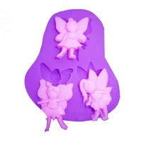 3 Angel Girls fondant cake molds soap chocolate
