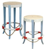 Coastal Life Preserver Wooden Stool in Blue/White