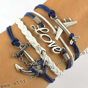Anchor, LOVE, the plane Bracelet, Antique Silver Bracelet - navy blue leather, daily bracelets, the gift of friendship, Christmas gifts