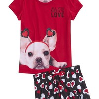 PUPPY HEART PAJAMA SET | GIRLS VALENTINE'S DAY SHOP NOW TRENDING | SHOP JUSTICE