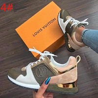 Louis Vuitton LV Trending Women Stylish Color Matching Casual Lace-Up Sport Sneakers Shoes 4# White/Army Green/Pink I-ALS-XZ