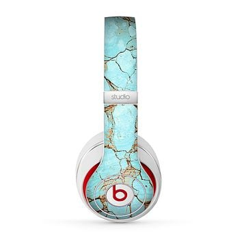 The Cracked Teal Stone Skin for the Beats by Dre Studio (2013+ Version) Headphones