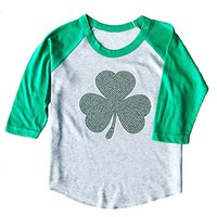 SoRock Youth Kids ST. Patricks Day Studded Shamrock 3/4 Sleeve Raglan T-Shirt