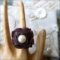Cocktail Ring Vintage Buttons Retro Jewellery Aubergine Deep Cherry Colour - Loretta