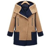 Winter New Asymmetry Mosaic Big Pockets Woolen Dust Coat Outerwear