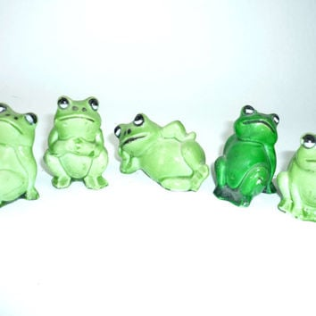 Vintage Green Frogs Plastic from the 1980s
