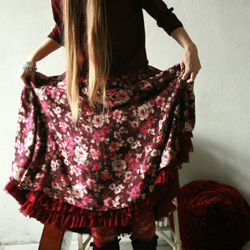 Gypsy red floral maxi skirt, with red ruffled hem petticoat