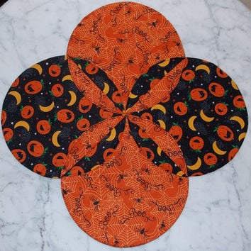 Pumpkin Boo Halloween Table Topper Runner Quilt