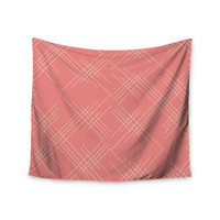 "Famenxt ""All A Blaze Abstract"" Coral Beige Illustration Wall Tapestry"