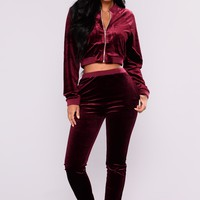 Palma Velour Set - Burgundy