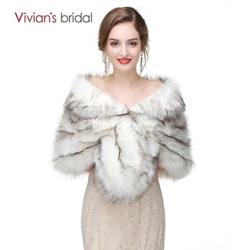 Bridal Wraps Fur For Wedding Evening Party Prom Jacket Coat Winter White Fur Shawl Wedding