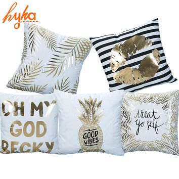 Hyha Bronzing Cushion Cover Printed Pineapple Luxury Tropical Linen Polyester Home Decorative Pillows Cover for Sofa Pillowcase