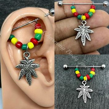 Rasta beaded Pot leaf, Weed Industrial/Scaffold earring 14, 16 gauge stainless steel body jewelry