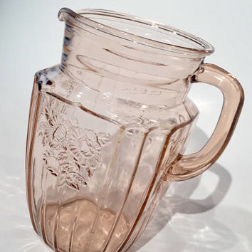 Mayfair Open Rose Pink Glass Pitcher 60oz, Anchor Hocking Pink Depression Glass Pitcher, Iced Tea Pitcher