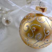Christmas Ornament, Glass Ball Ornament, Gold Ornament, Holiday Decor, Hand Painted Ornament