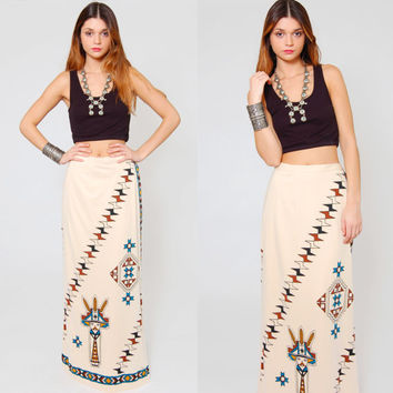 RARE Vintage 70s Ethnic Tribal Native American Maxi Skirt ALFRED SHAHEEN Kachina Doll Print Southwestern Boho Maxi Wrap Skirt