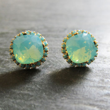 Turquoise Crystal Rhinestone Earrings Mint Green Teal Blue Swarovski Crystal Studs Gold Post Aqua Wedding Bridal Regal Exotic Victorian