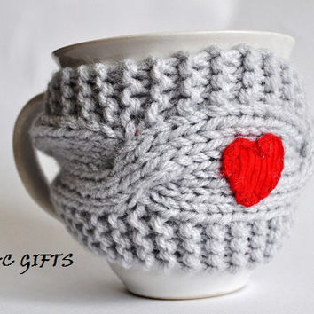 Mug Cozy with Red Heart, Coffee Mug Cozy, grey color, Cup Cosy, Mug Warmer knitted,valentines gift
